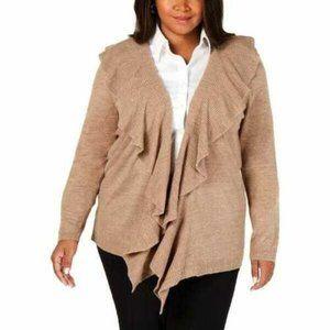 Karen Scott 1X Cardigan Brown Tan Ruffle Sweater